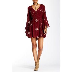 Free People Jasmine Embroidered Bell Sleeve Dress